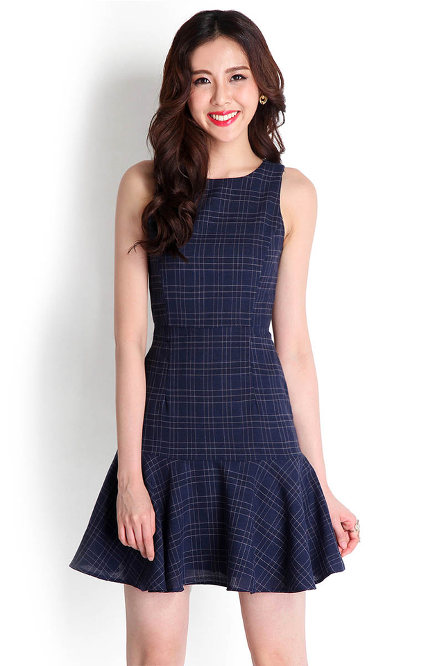 In For A Surprise Dress In Blue Grids