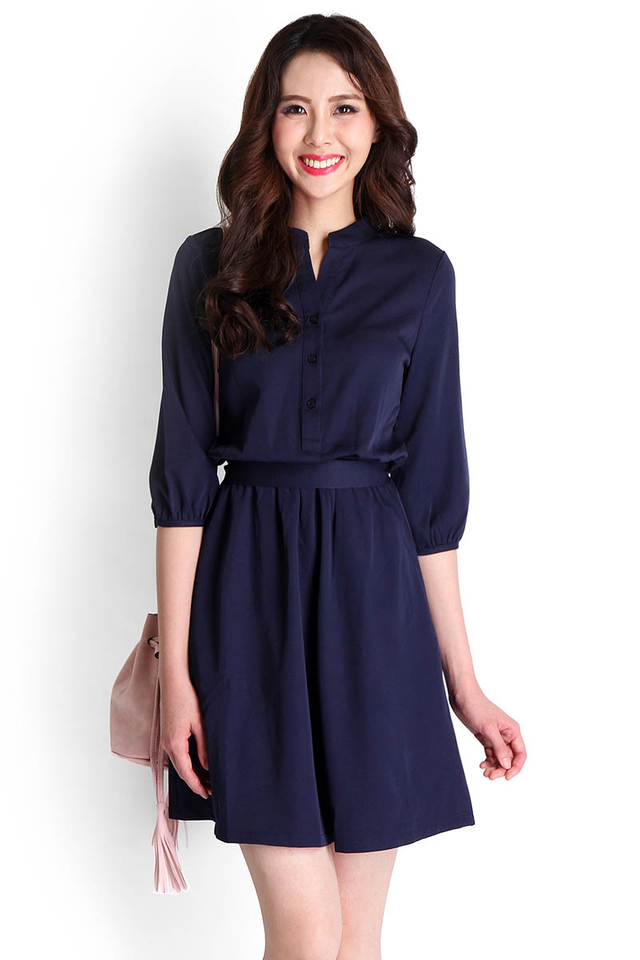 One Woman Show Dress In Midnight Blue