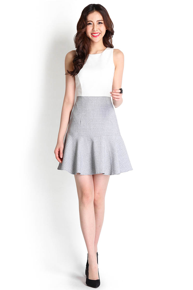 In For A Surprise Dress In Grey Grids