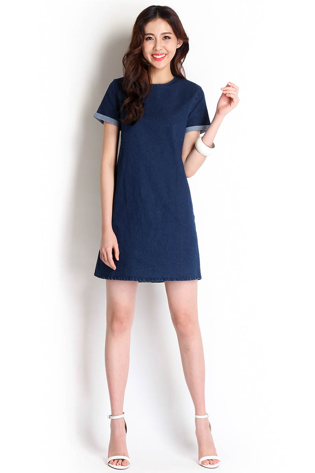 [BO] Street Style Dress In Dark Wash