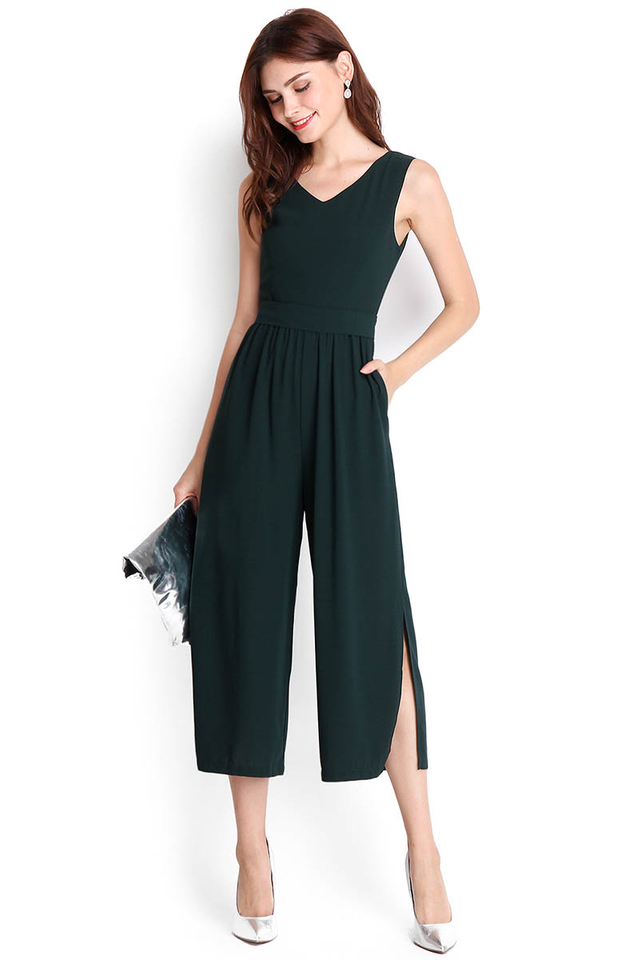 Barcelona Jumpsuit In Forest Green