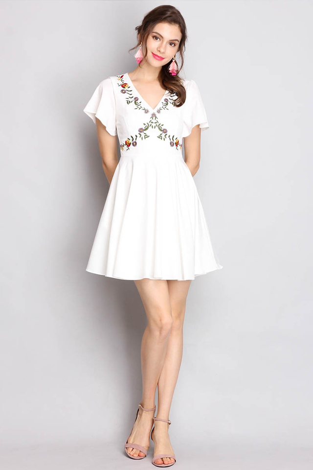Sweet Emotions Dress In White