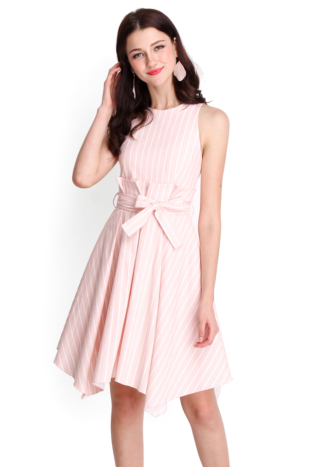 Beautiful Beginnings Dress In Pink Stripes