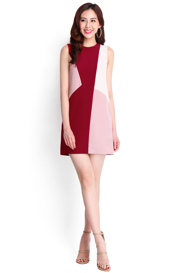 Colour Parade Dress In Wine Red