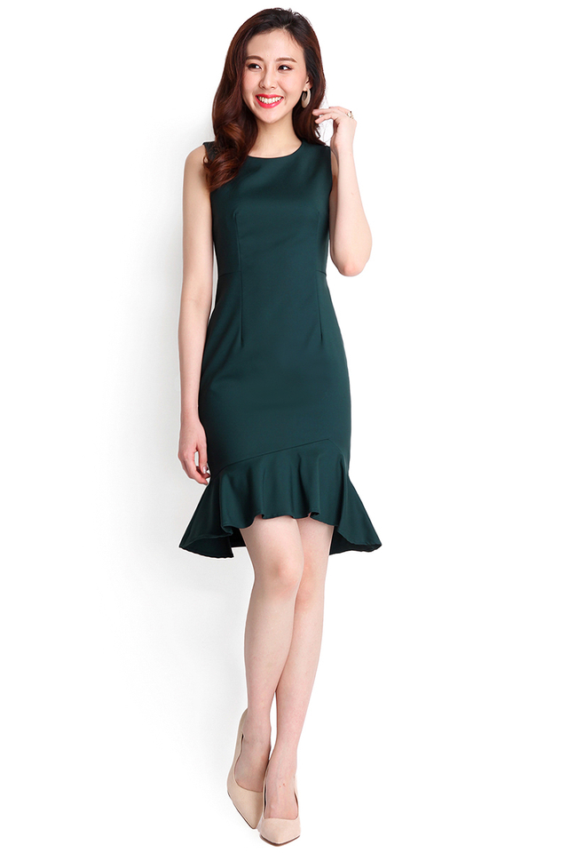 After Midnight Dress In Forest Green