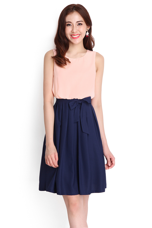 Colour Symmetry Dress In Peach Blue