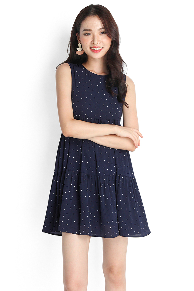 Good Day Sunshine Dress In Blue Dots