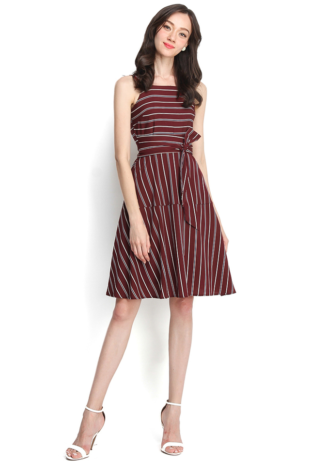 Adventures of Pooh Dress In Wine Stripes