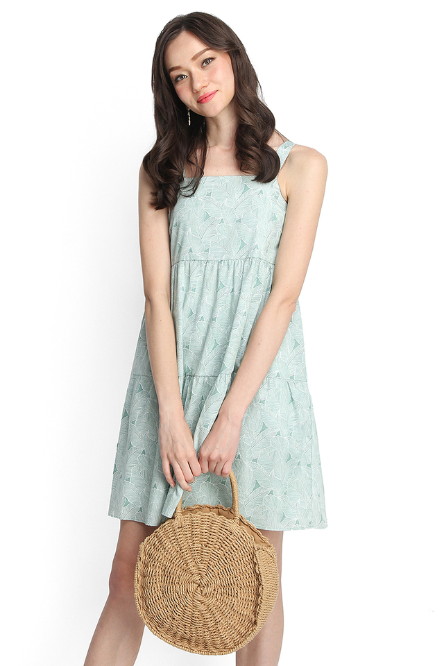 Time For Spring Dress In Green Prints