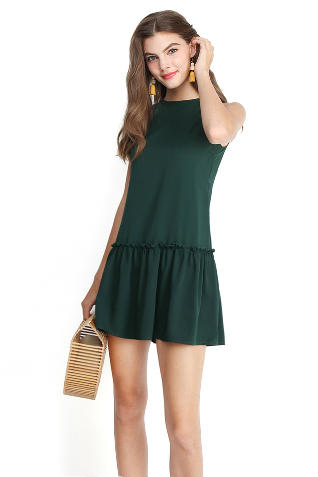 Keep Looking For Sunshine Dress In Forest Green
