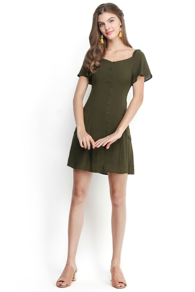 Love At First Sight Dress In Olive Green