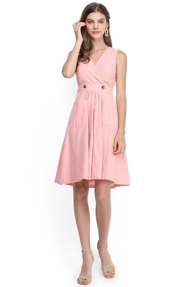 Hey Jude Dress In Pink Stripes