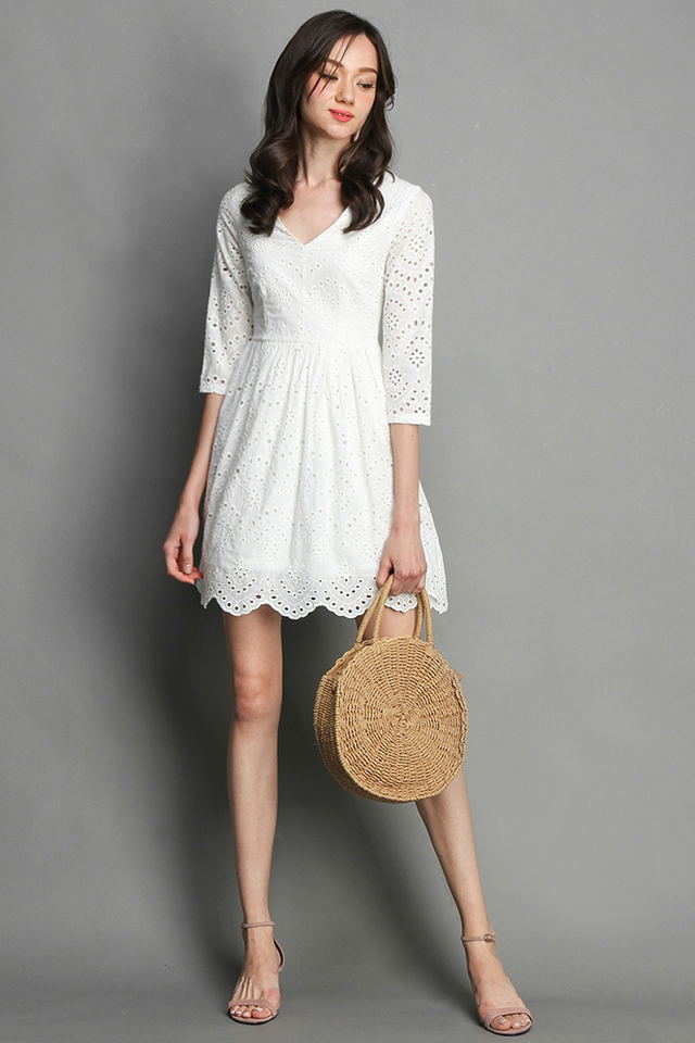 Summer Holiday Dress in Pure White