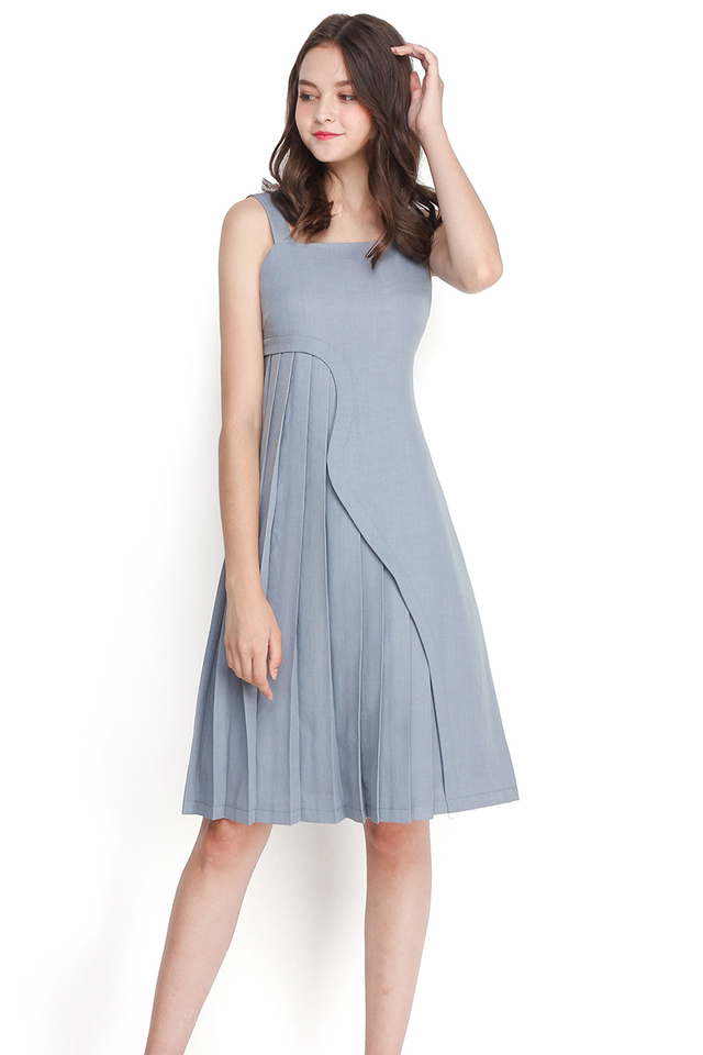 Singing By The Ocean Dress In Muted Blue