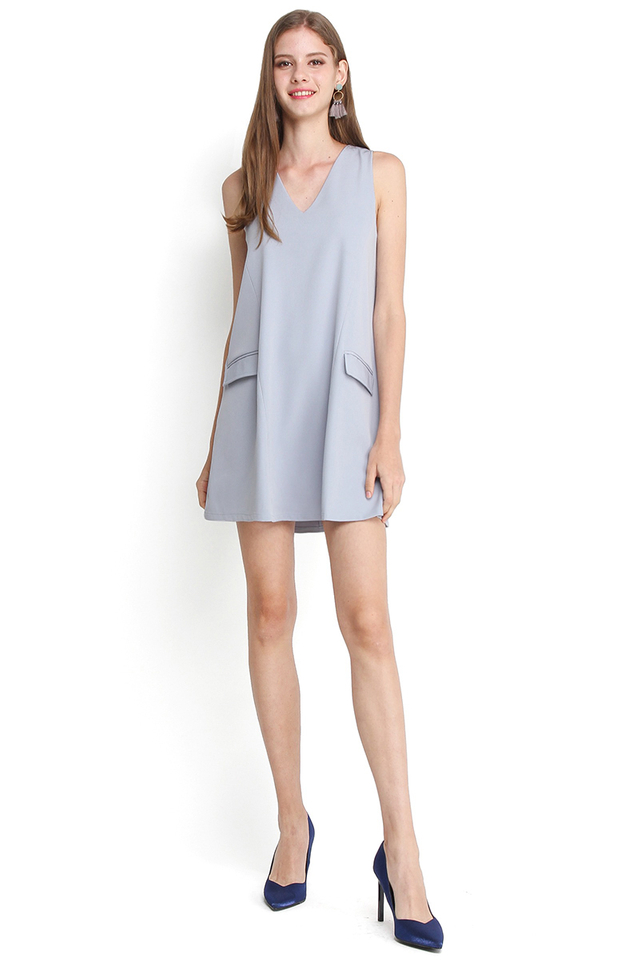 French Flair Dress In Muted Sky