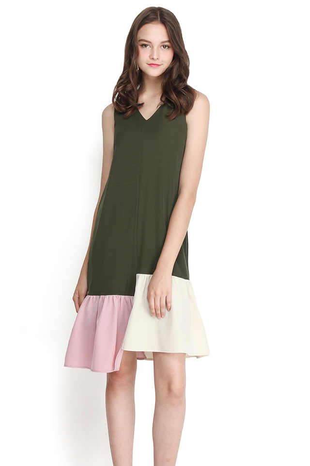 Jack And The Beanstalk Dress In Olive Green