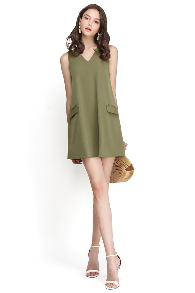 French Flair Dress In Olive Green