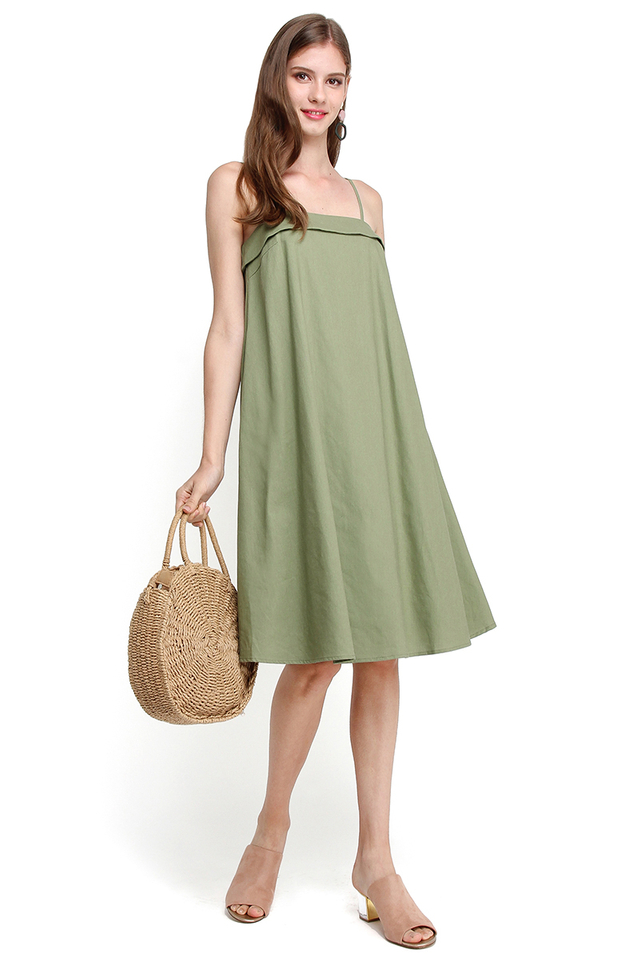 Take Me On A Cruise Dress In Olive Green