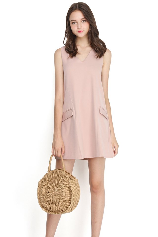French Flair Dress In Dusty Pink