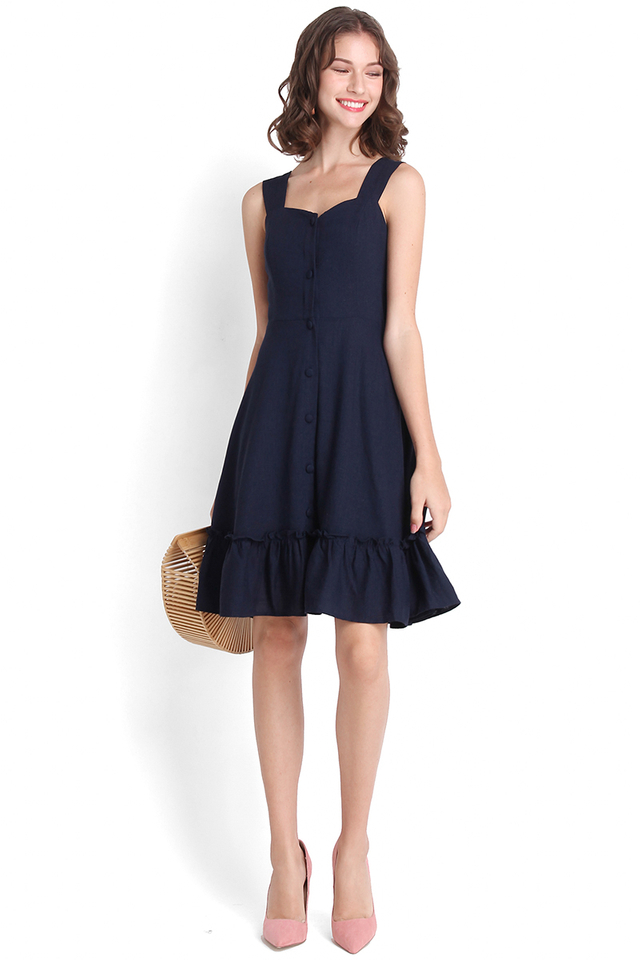 Holiday Romance Dress In Navy Blue