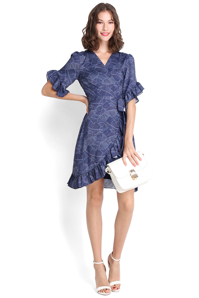 Tousled Waves Dress In Navy Prints