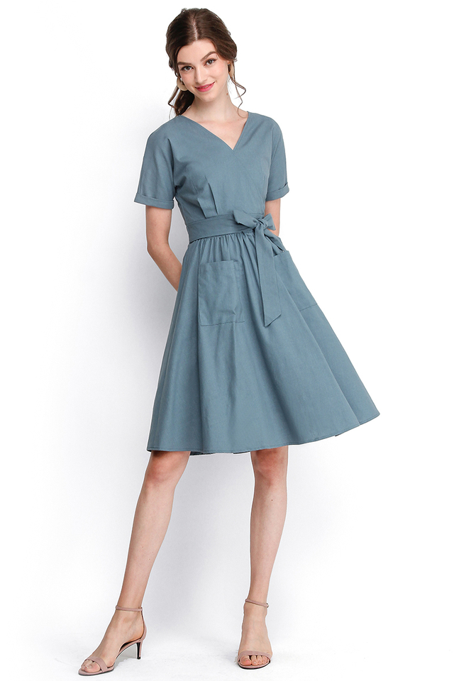 Seventh Heaven Dress In Muted Blue
