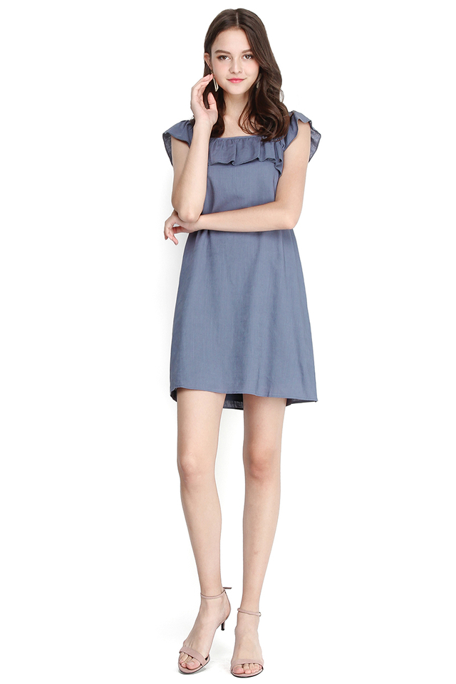 Swedish Cottage Dress In Muted Blue