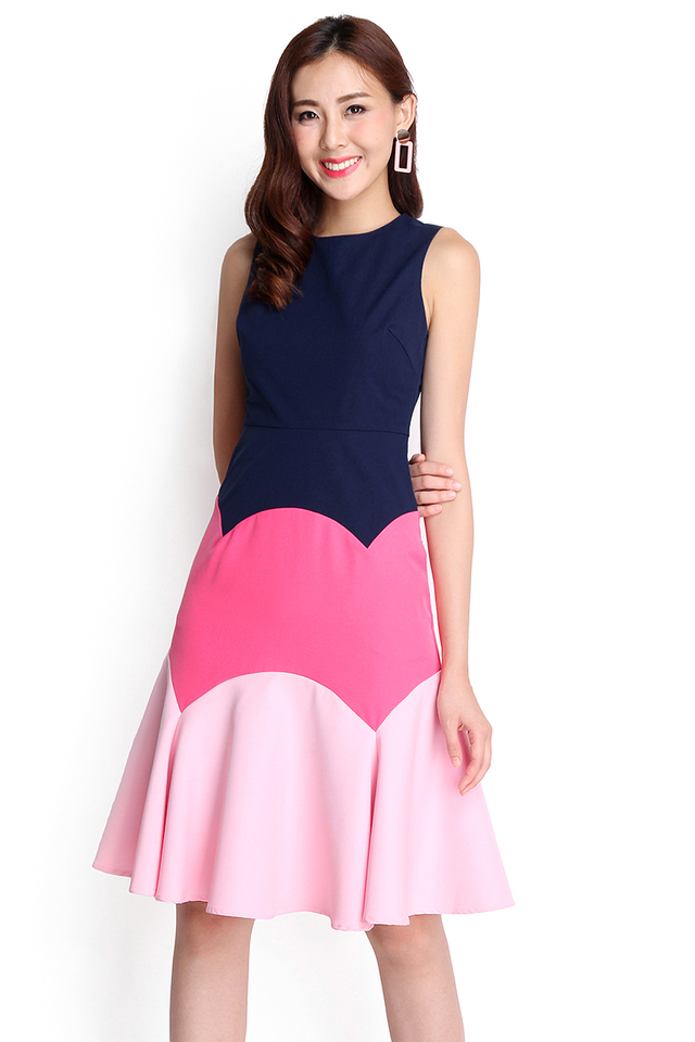 Capturing Moments Dress In Navy Blue