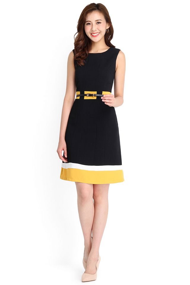 Sunshine Happiness Dress In Black Mustard
