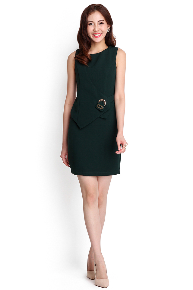 Hour Glass Dress In Forest Green