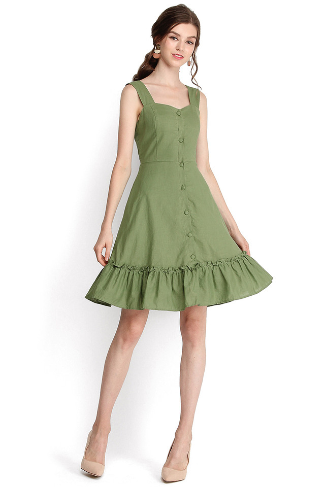 Holiday Romance Dress In Sage Green