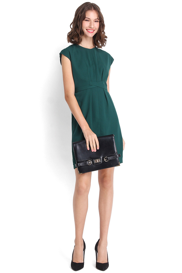 Budding Brilliance Dress In Forest Green