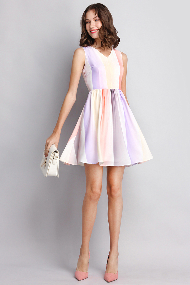 Kaleidoscopic Multicoloured Dress in Light Ombre