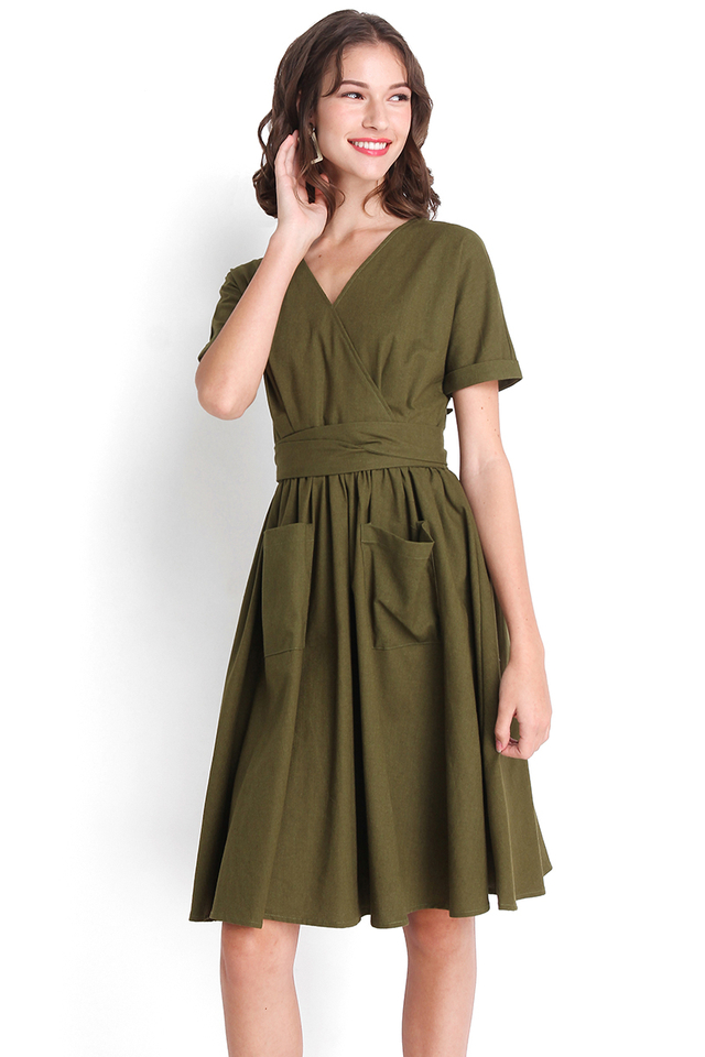 Seventh Heaven Dress In Olive Green