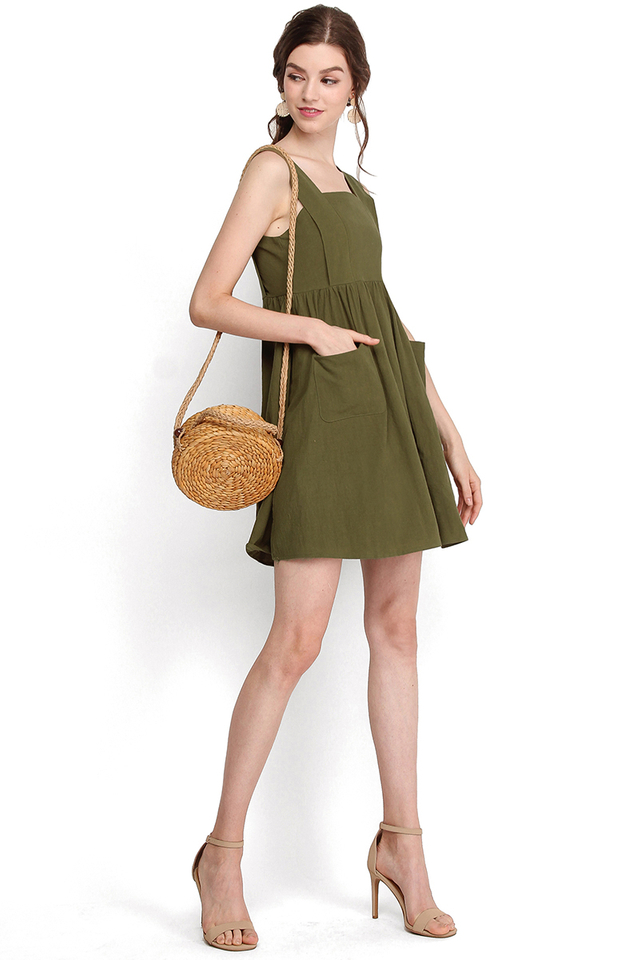 Polly Pockets Dress In Olive Green