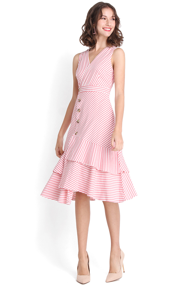 Meant For Twirling Dress In Pink Stripes