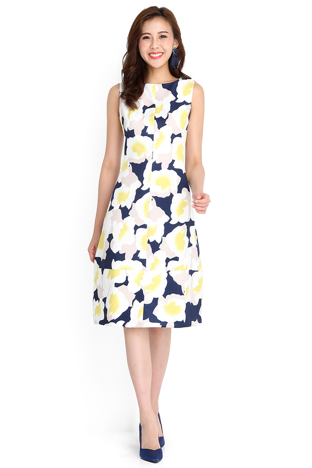 Sassy And Chic Dress In Yellow Florals
