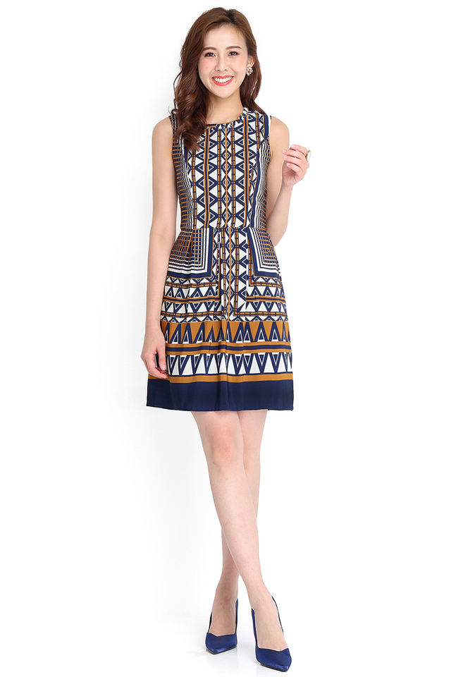 Giza Pyramid Dress In Blue Prints