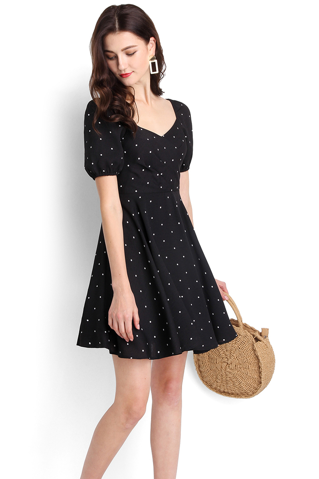 Betty Boop Dress In Black Polka Dots