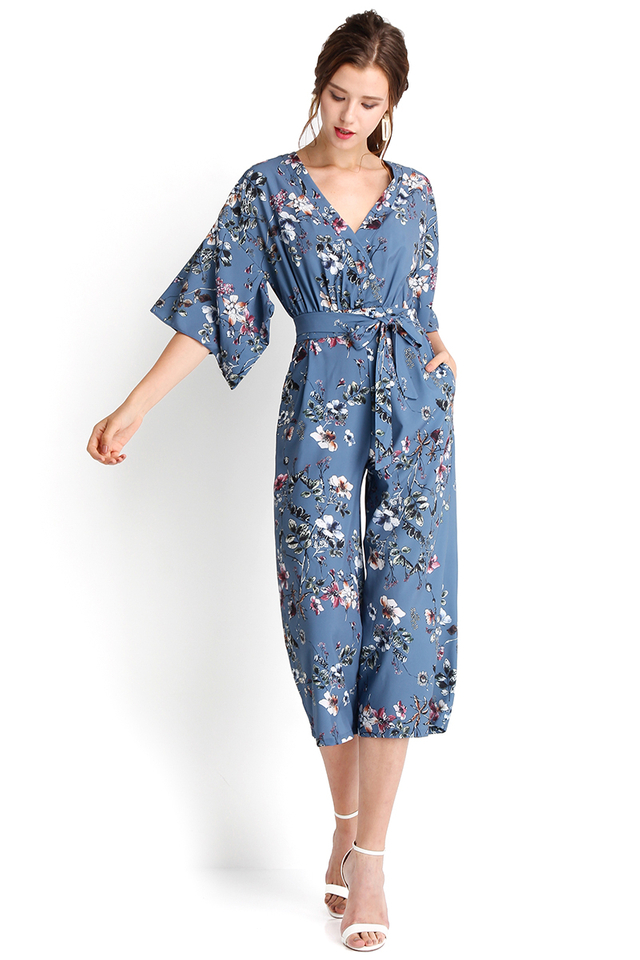 Shores Of Venice Romper In Blue Florals
