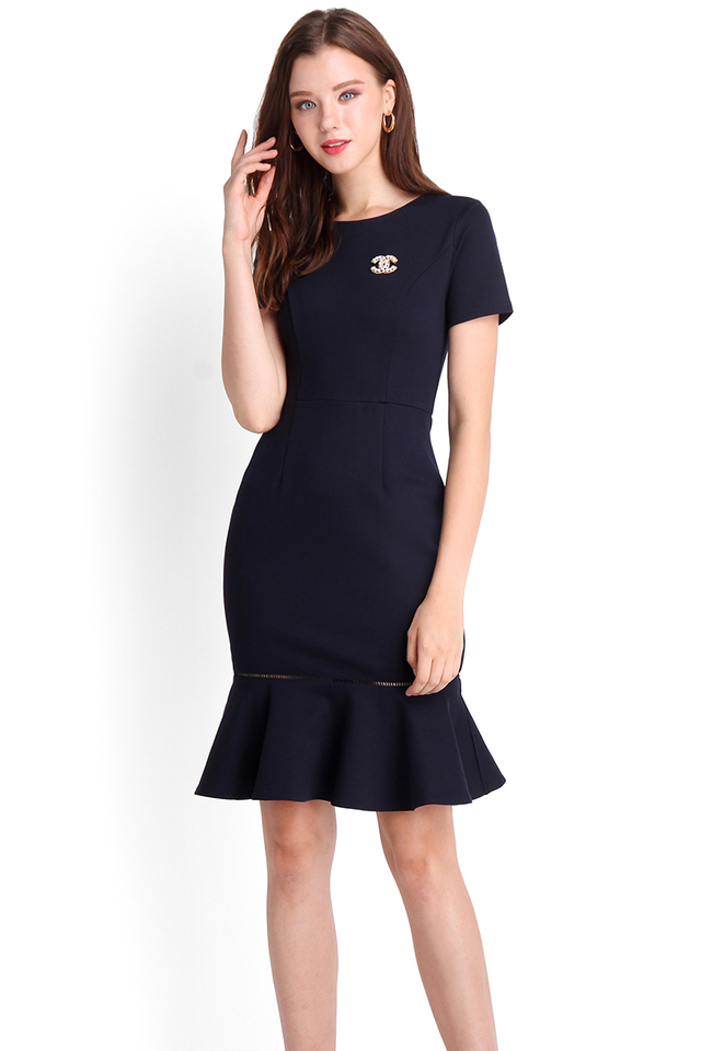 Captivated Gaze Dress In Midnight Blue