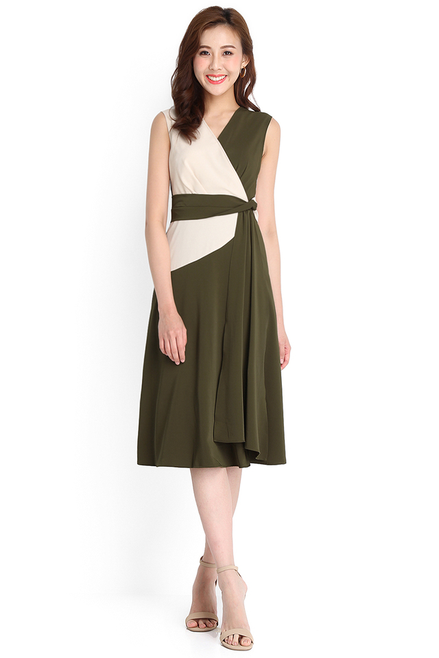 Lovely In A Wrap Dress In Olive Green