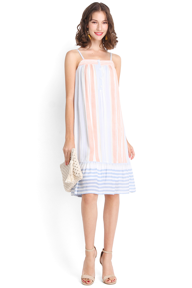 Candy Empire Dress In Pastel Stripes