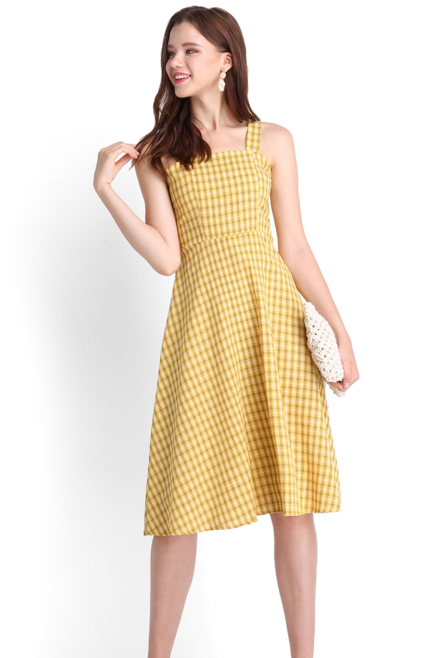 Brighter Than The Sun Dress In Yellow Plaid