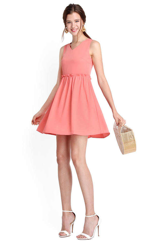 Courtyard Romance Dress In Apricot Pink
