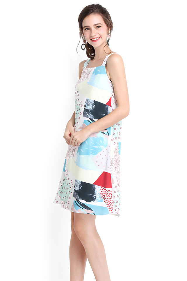 Colour My World Dress In Blue Prints