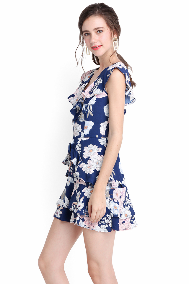 Head Over Heels Romper In Blue Florals