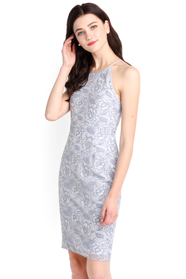 Your Time To Shine Dress In Periwinkle Lace