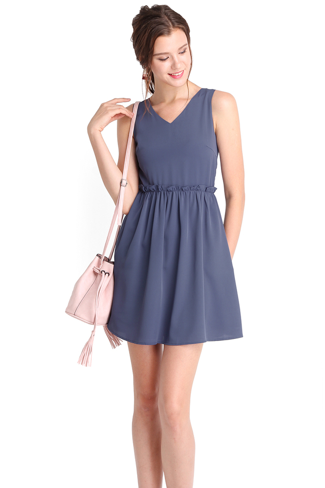 Courtyard Romance Dress In Muted Blue