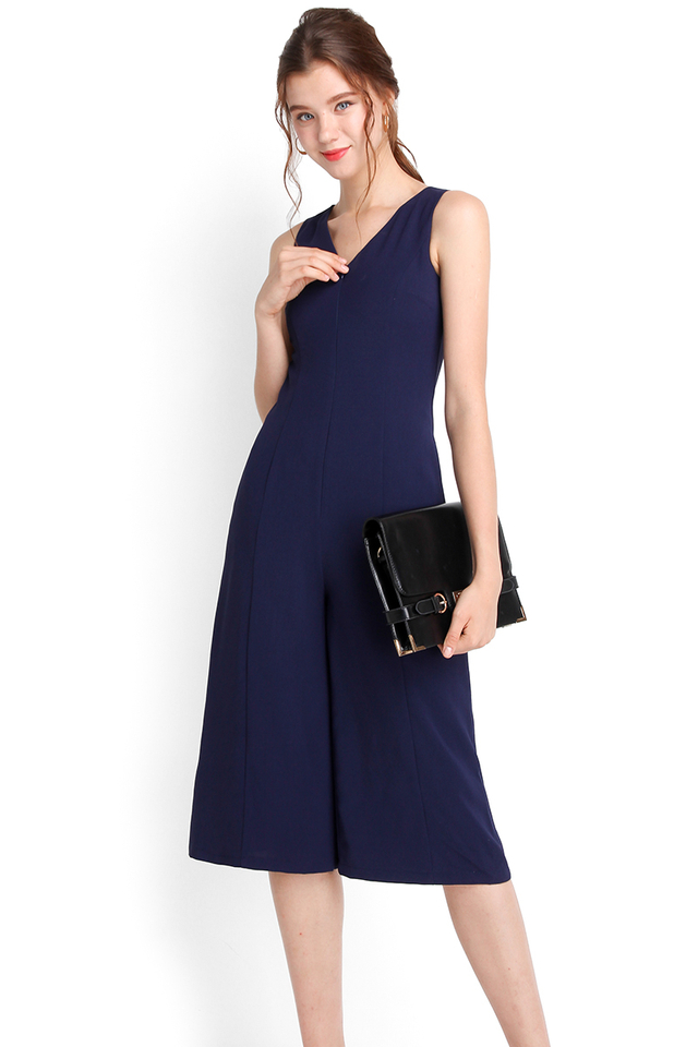 Night On Broadway Romper In Navy Blue